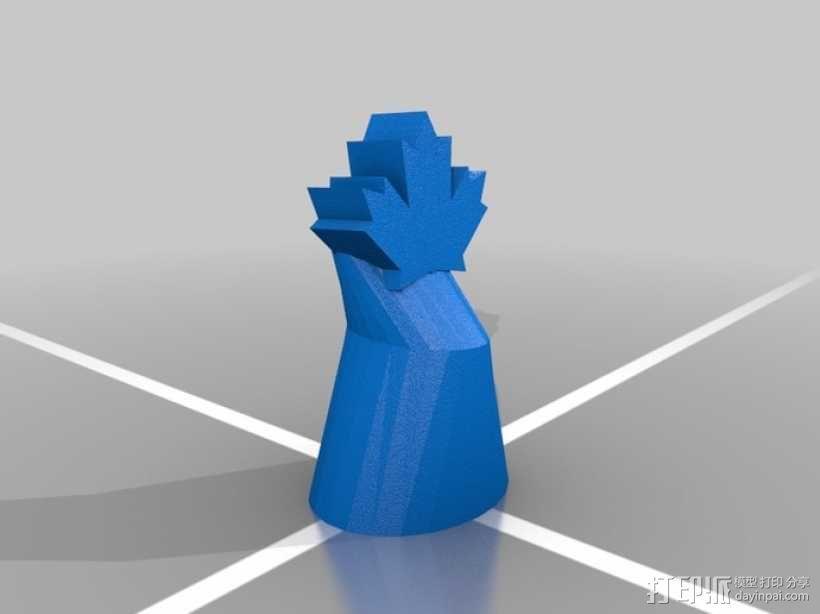 枫叶形象棋套件 3D模型  图2