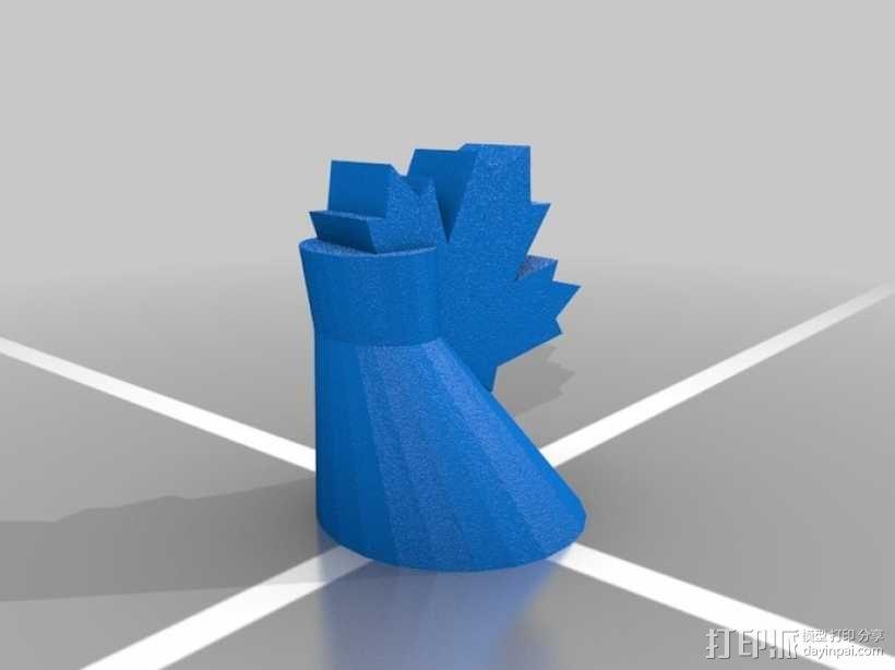 枫叶形象棋套件 3D模型  图3