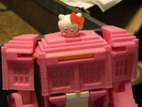 带有凯蒂猫头像的塔迪斯机器人 3D模型