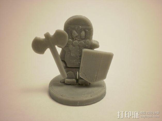 FlatMinis:矮人战士 3D模型  图1