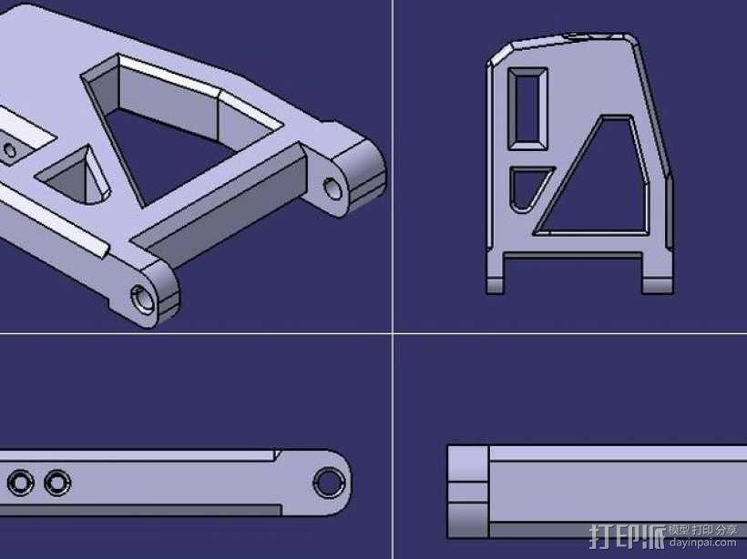 遥控赛车的低前悬吊结构臂 3D模型  图1