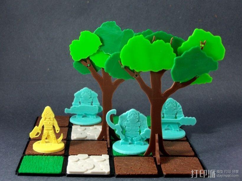 模块化的扁平树木 3D模型  图1