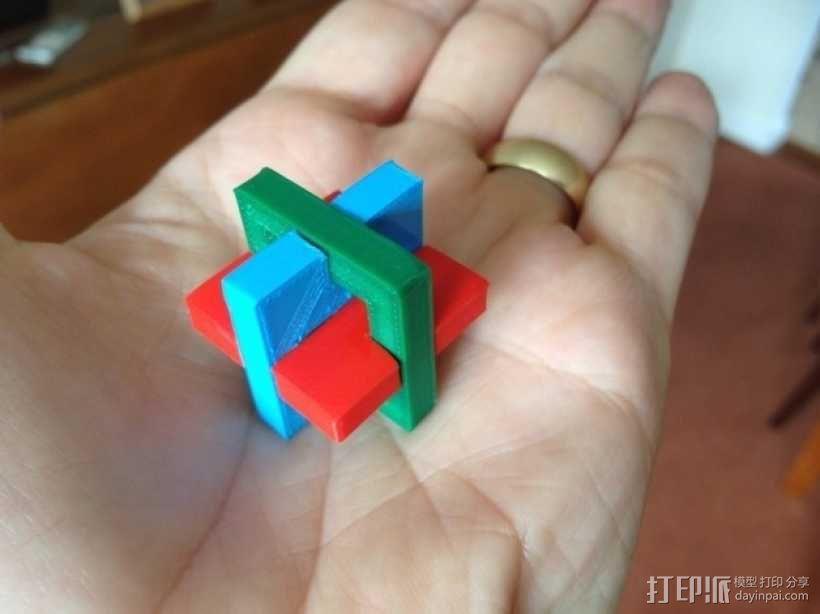 简易三面鲁班锁 3D模型  图1