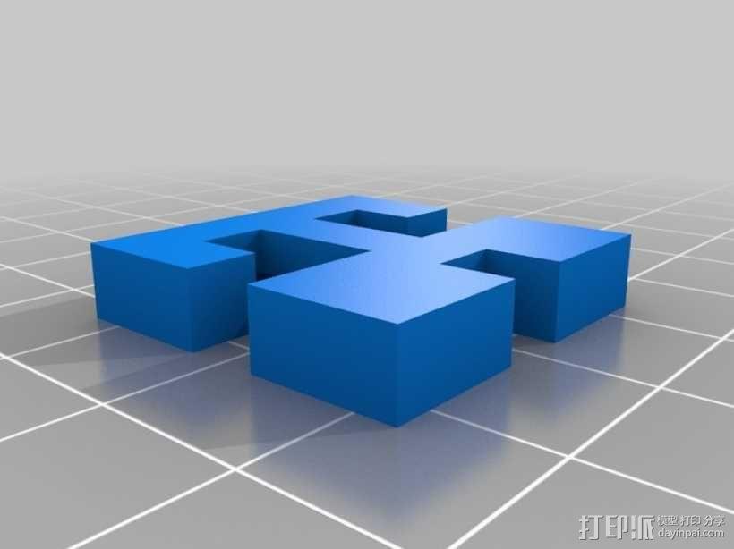 简易三面鲁班锁 3D模型  图4