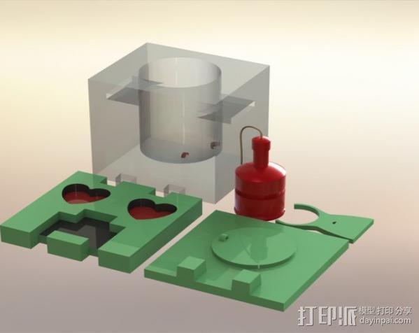 爬行者造型的情人节礼物盒 3D模型  图2