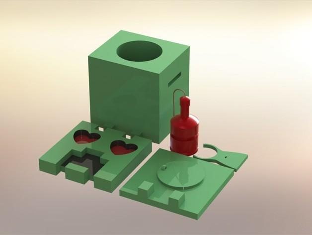 爬行者造型的情人节礼物盒 3D模型  图1