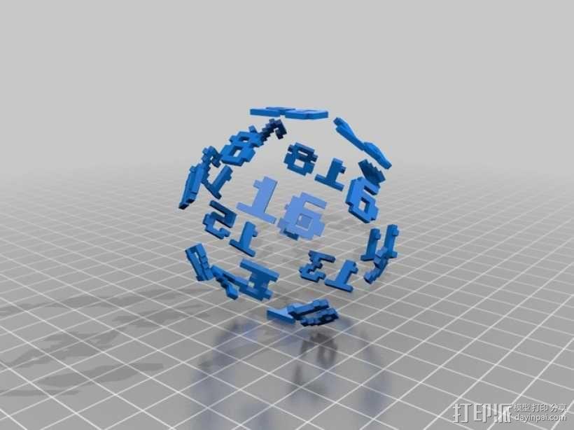 二十面体骰子 3D模型  图3