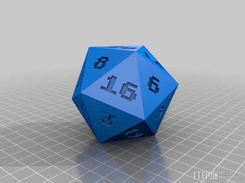 二十面体骰子 3D模型  图2
