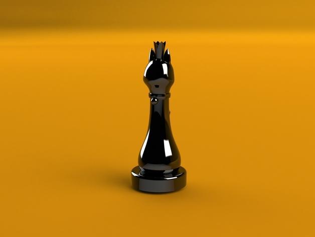 猫形象棋棋子 -- 王后 3D模型  图2