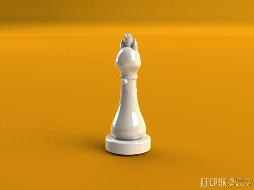猫形象棋棋子 -- 王后 3D模型  图1