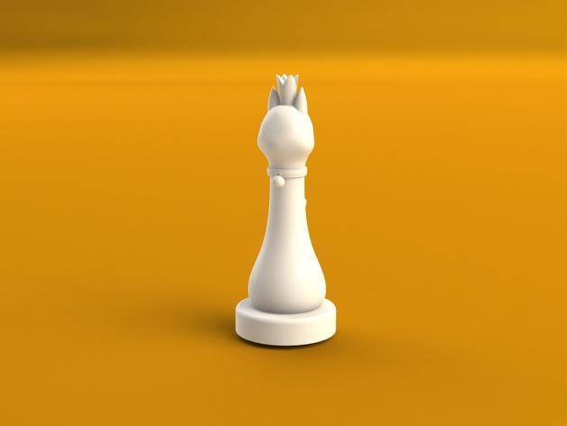 猫形象棋棋子 -- 王后 3D模型  图3