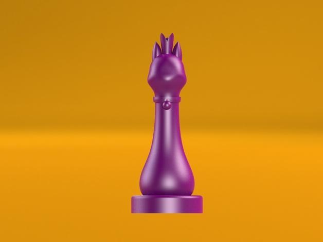 猫形象棋棋子 -- 王后 3D模型  图6