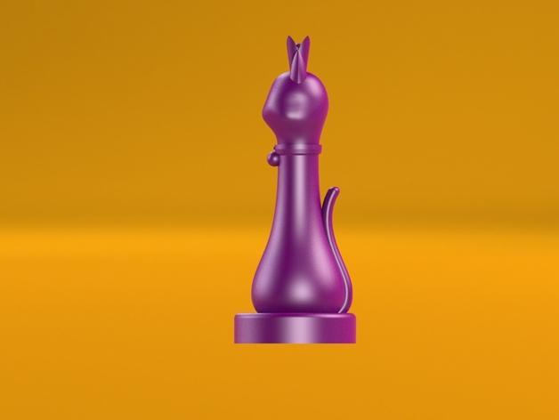 猫形象棋棋子 -- 王后 3D模型  图7