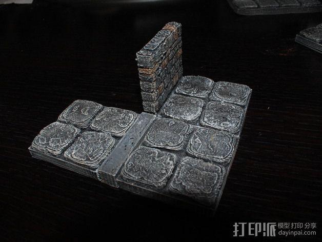 OpenForge地牢侧砖墙模型 3D模型  图2