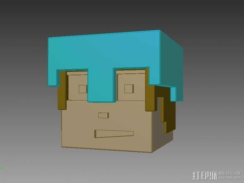 Minecraft:Steve头盔 3D模型  图1