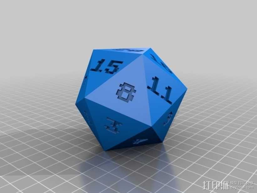 二十面骰子模型 3D模型  图1