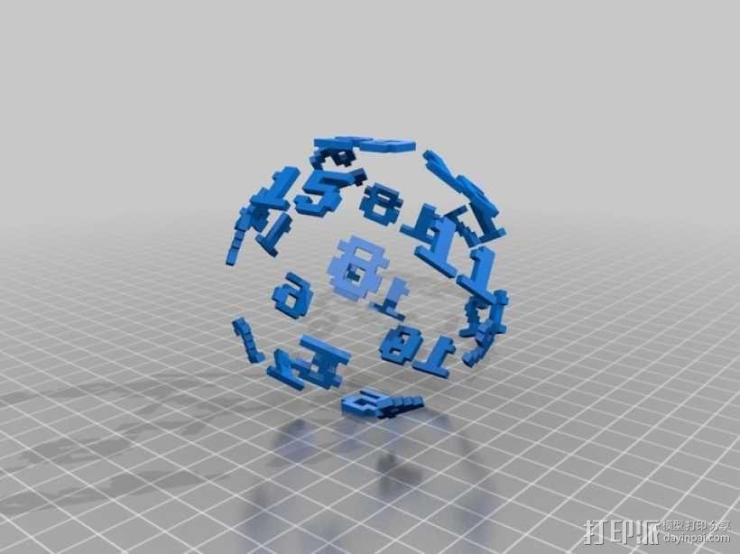 二十面骰子模型 3D模型  图4