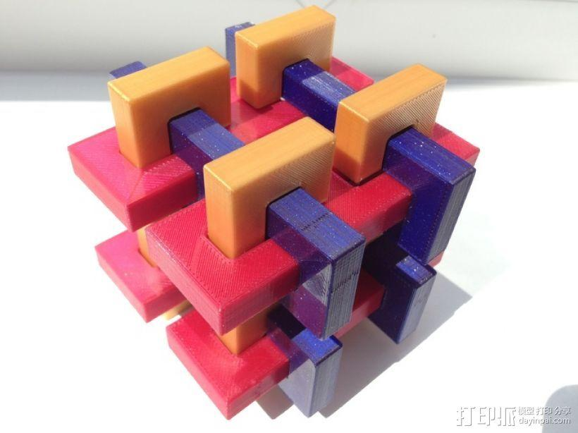 迷你鲁班锁模型3 3D模型  图1