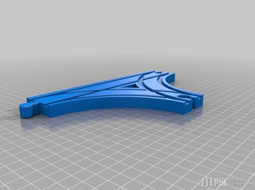 参数化T字形火车车轨模型 3D模型  图1