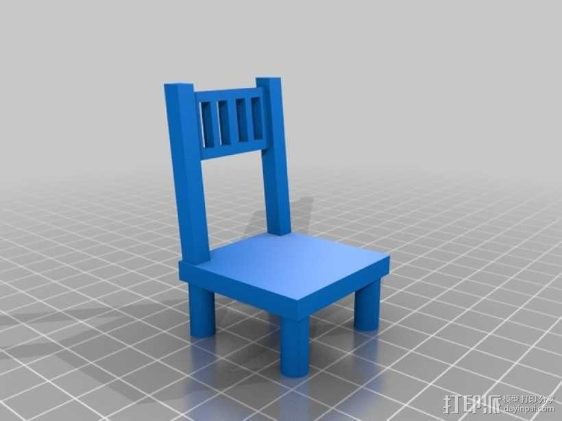 森林家族玩偶桌椅模型 3D模型  图1