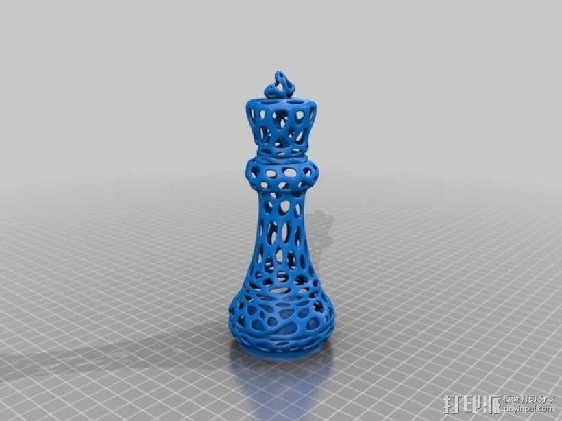 泰森多边形镂空象棋 3D模型  图7