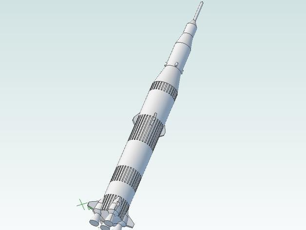 迷你土星太空火箭模型 3D模型  图1