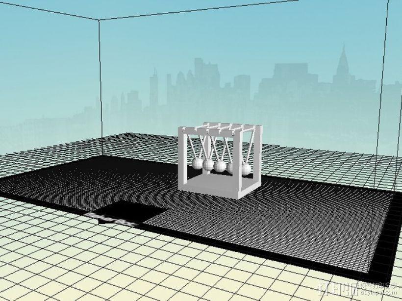 迷你牛顿摆模型 3D模型  图1