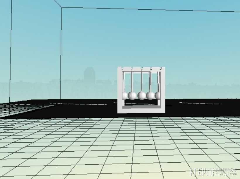 迷你牛顿摆模型 3D模型  图4