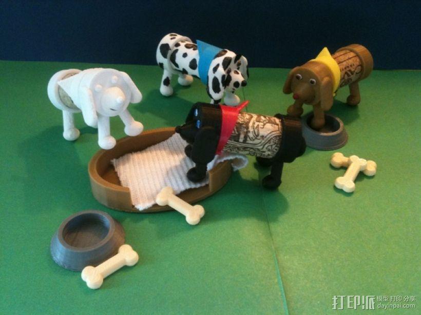 软木小狗零部件模型 3D模型  图1