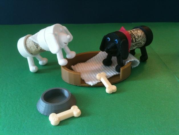 软木小狗零部件模型 3D模型  图2