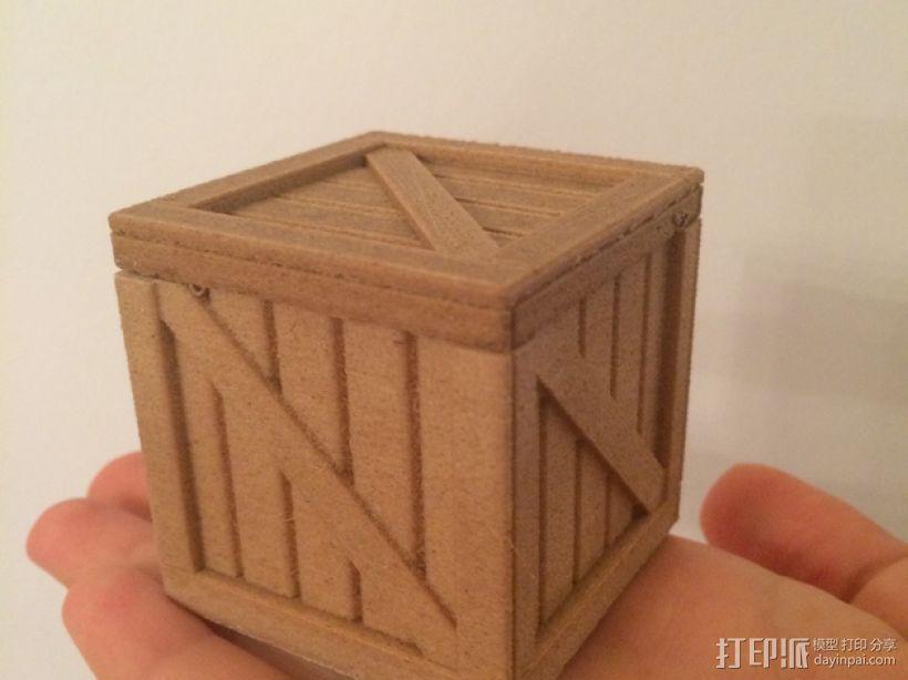 有盖子的小板条箱 3D模型  图1