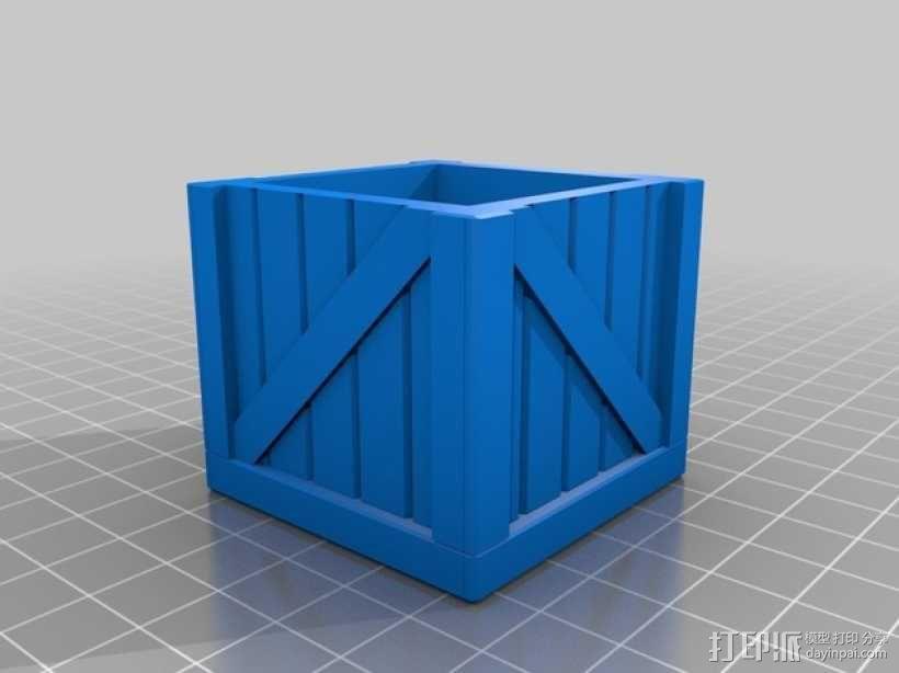 有盖子的小板条箱 3D模型  图3