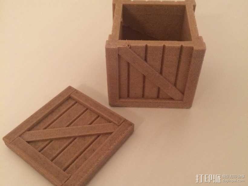 有盖子的小板条箱 3D模型  图7