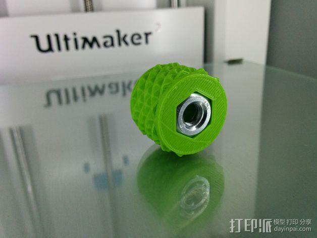 滚花式旋钮螺母 3D模型  图1