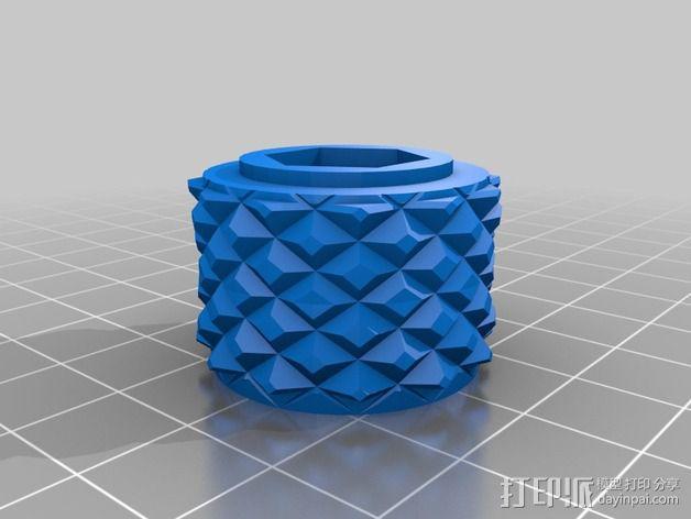 滚花式旋钮螺母 3D模型  图2
