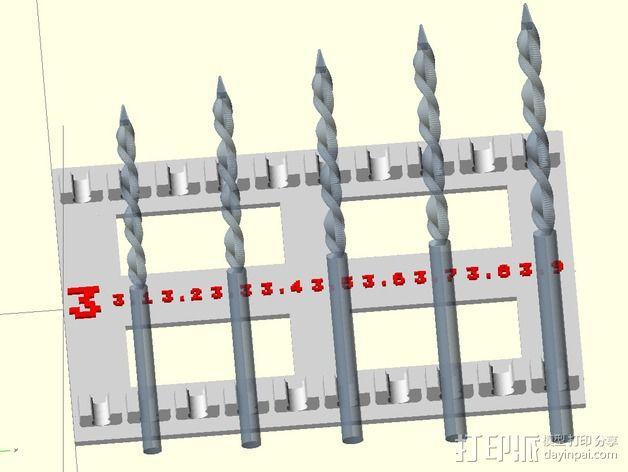 参数化钻头收纳架 3D模型  图2