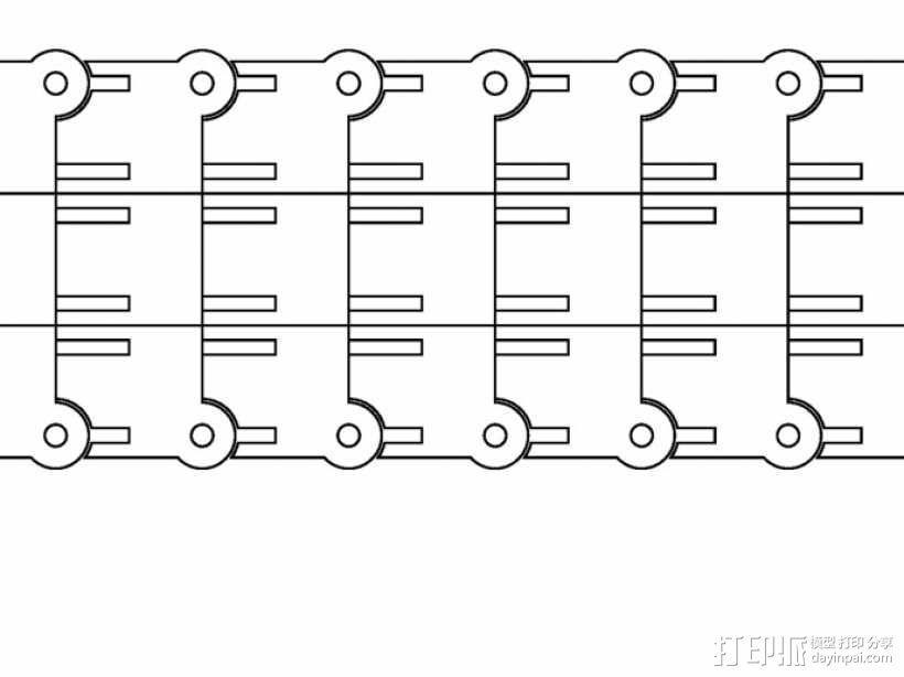 激光切割牵引链 3D模型  图2