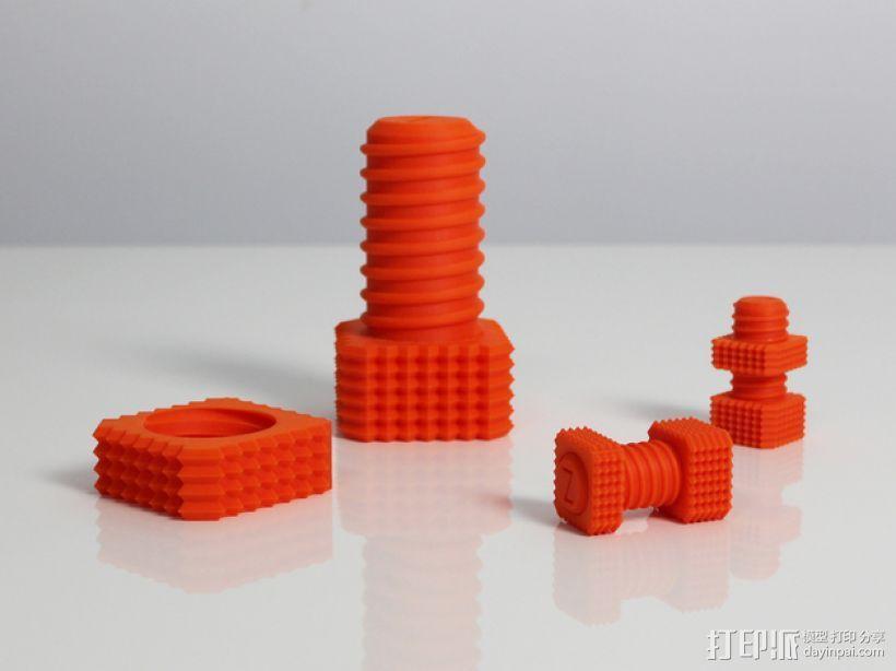 螺钉和螺母 3D模型  图1