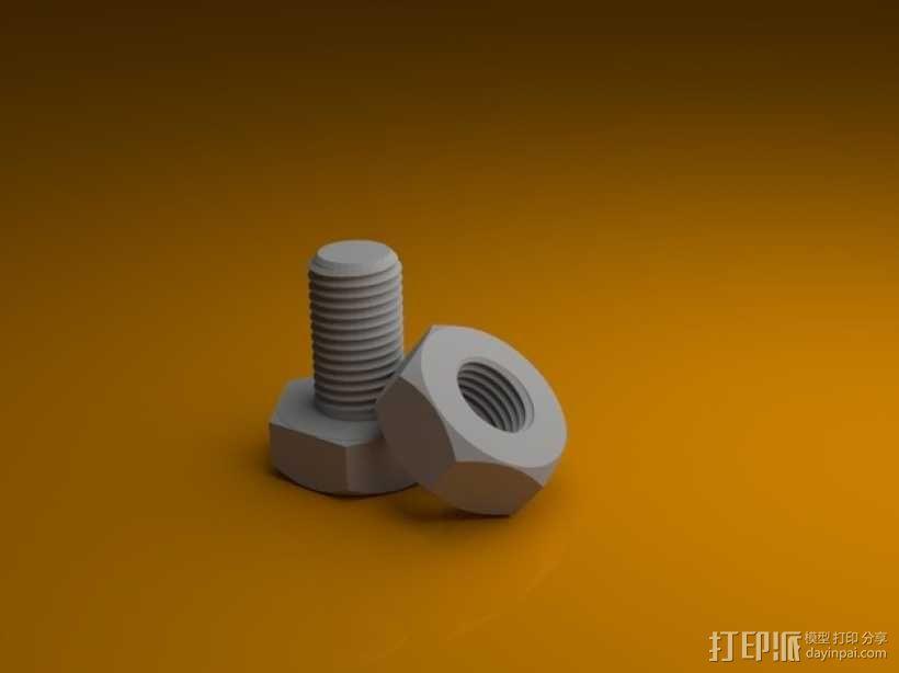 M3螺丝螺母 3D模型  图1