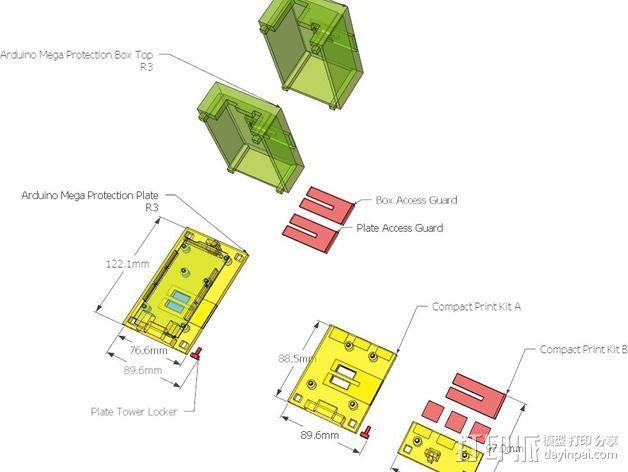 Arduino Mega 2560电路板底座 3D模型  图8