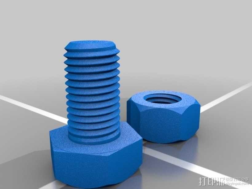 M8螺丝螺母 3D模型  图2