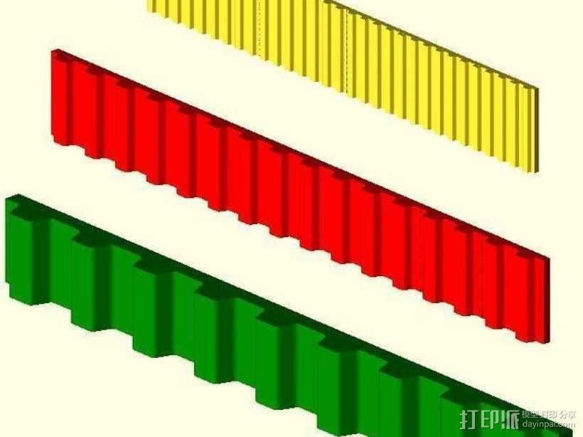 参数化同步皮带  3D模型  图1