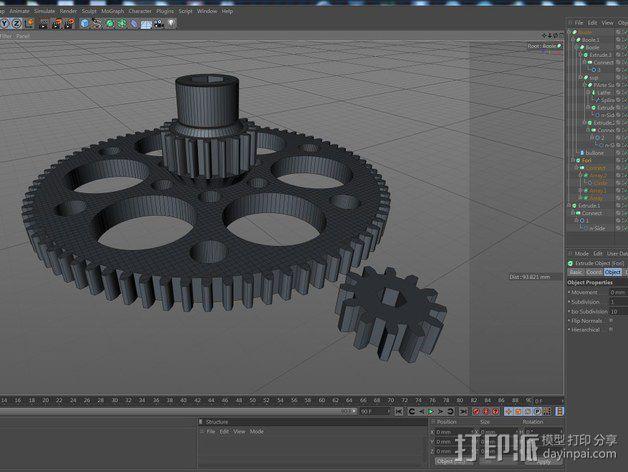 测试用齿轮 3D模型  图2