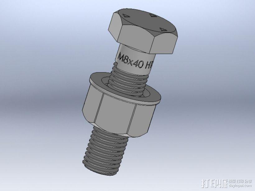 M8 x 40螺丝螺母  3D模型  图1