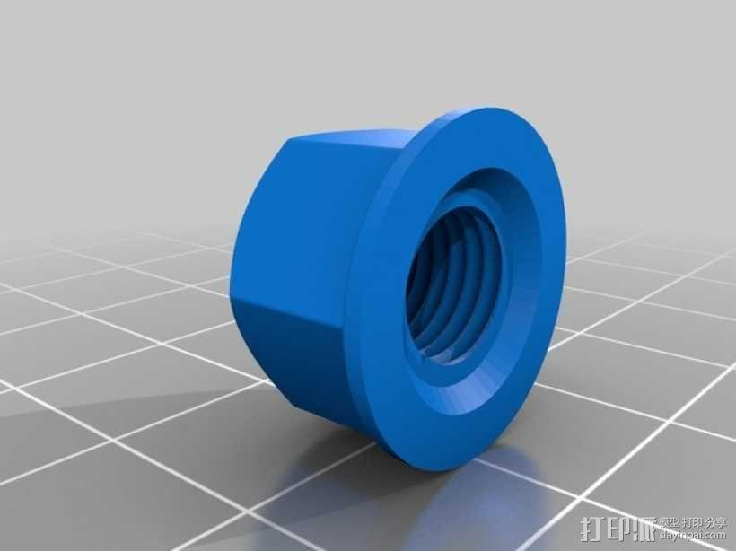 M8 x 40螺丝螺母  3D模型  图3