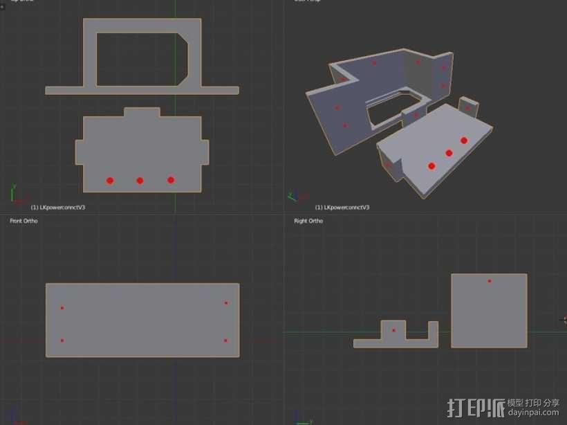 电源连接器保护壳 3D模型  图4