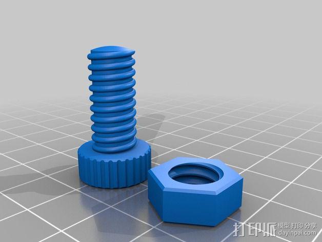 螺母螺丝 3D模型  图2