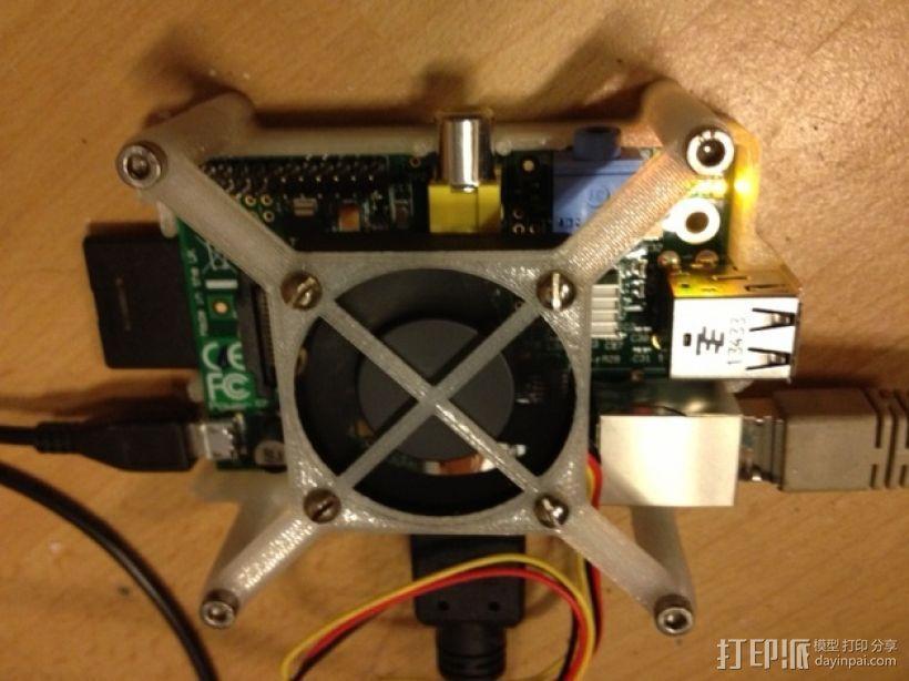 树莓派电路板 风扇支架 3D模型  图1