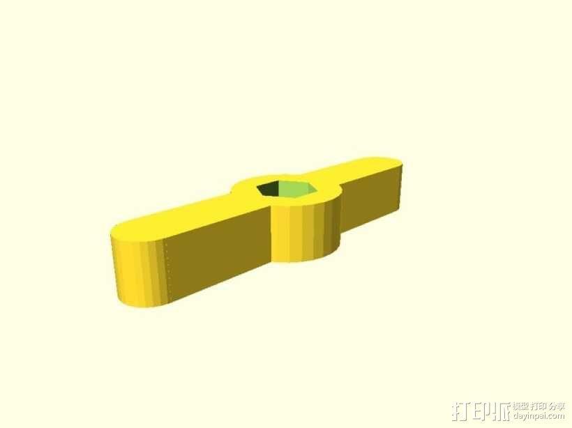 可调节的螺栓把手 3D模型  图1