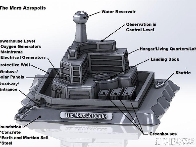 火星上的城堡 3D模型  图1